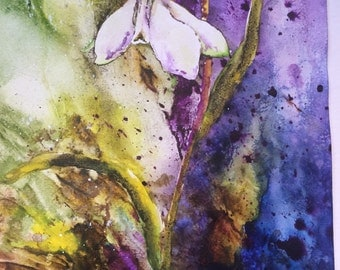"Original watercolour painting. Abstract flowers.""Snowdrop"""