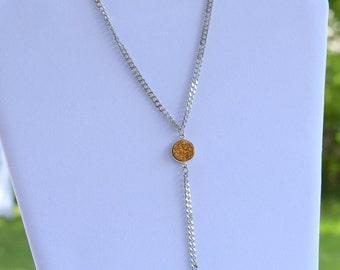 Gold Druzy Lariat chain necklace