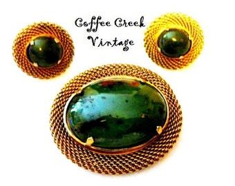 Vintage Jade Brooch and Earrings