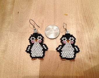 Penguin beaded earrings