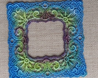 2 hand dyed venise lace frame applique peacock blue violet and lime green motif picture frame for journals, scrapbooking, quilting