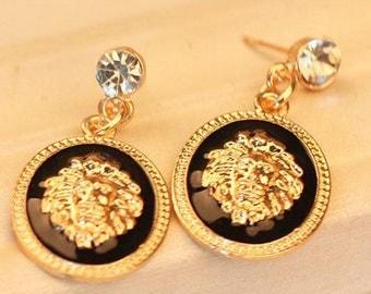 Rhinestones Designer inspired Medusa Fashion drop earrings
