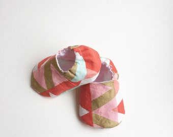 Pink and Gold geometric girl soft sole cotton slipper shoe