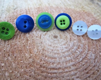 SEAHAWKS mix and match button post earring set