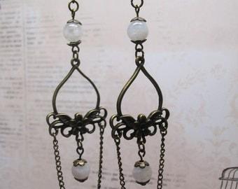 Moonstone Chandelier Earrings-Dangle Earrings-Gemstone Earrings-Vintage Earrings-Boho Earrings-Romantic Earrings-FREE SHIPING-Ethnic Jewelry