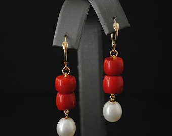 Cultured Pearl and Coral 14K Yellow Gold Leverback Earrings