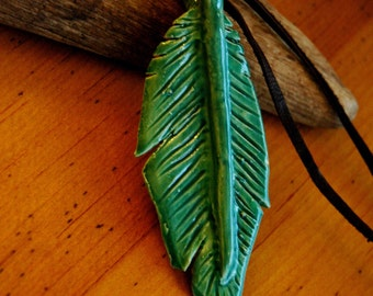 Green ceramic feather pendant necklace