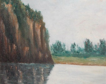 1995 Impressionist oil painting landscape lake signed