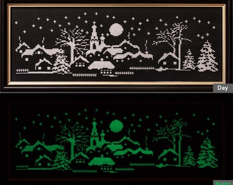 Luminous paintings, embroidered, handmade. Christmas night