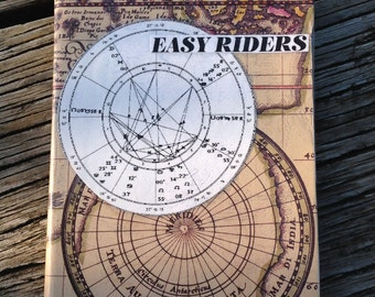 """Original A6 notebook. Analog collage """"Easy Riders"""". Hand cut collage notebook cover"""