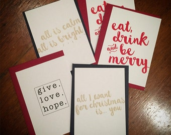 5 pack - notecard + envelope sets - Christmas