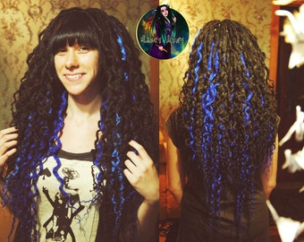 Curly double ended Synthetic crochet Dreads. Set for full head black and blue dreadlocks.
