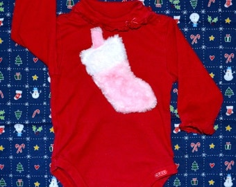 12 months Baby Ugly Christmas Sweater Onsie with fuzzy stocking