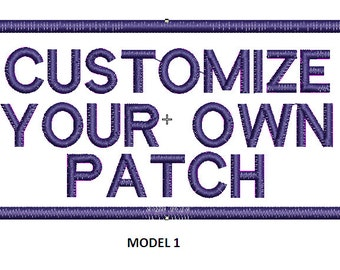 "Embroidered Patch customized rectangular, three lines 4"" X 2"""