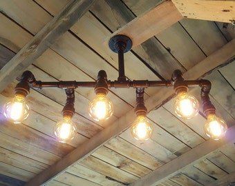 Rustic Industrial Lighting Chandelier- Stagger Steampunk Machine Age- Edison Bulb Iron Pipe Light- Modern Industrial Lighting- FREE SHIPPING