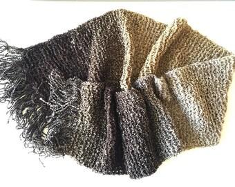 Knit Scarf, Crochet Scarf, Handmade Cozy Scarf with Fringe