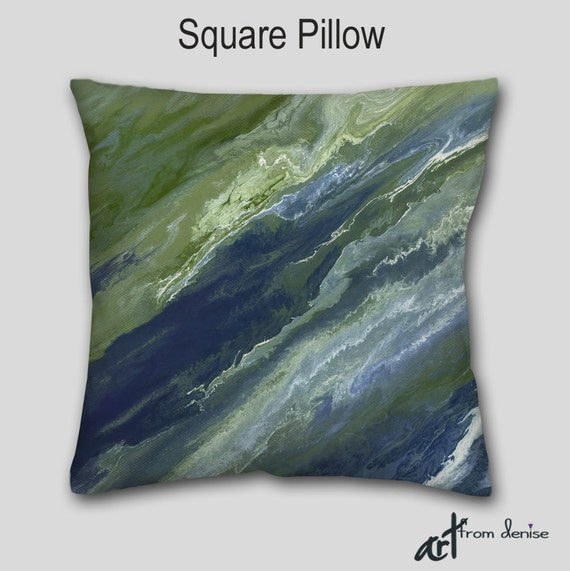 Decorative accent throw pillow Sage green Olive Navy blue