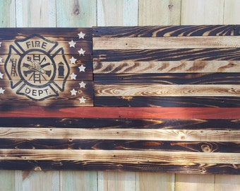 Thin red line wood flag, Thin Red Line Firefighter Maltese Cross flag, thin red line, wood flag, American flag, Firefighter flag, wall art.