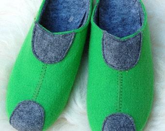 Felt slippers, slippers, felt slippers green. 38-41F