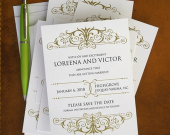 Elegant Save The Date Announcements - Thermography Save The Dates - Classic Save The Date Cards - Wedding Announcements - AA4208