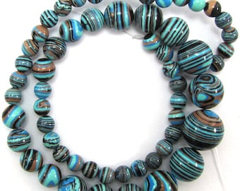 "6-14mm blue rainbow calsilica round beads 15.5"" strand 15178"