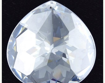 40% CLEARANCE 30mm faceted CZ cubic zirconia briolette pendant clear 4886