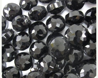 "10% SALE 13mm faceted crystal coin beads 8"" strand black jet S1 34324"