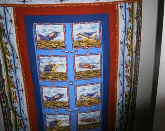 Boys quilt for single bed, 'Planes'
