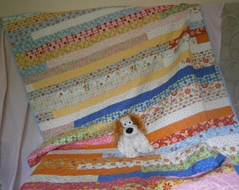 Quilt, single bed, girls. Jelly Roll. Patchwork.