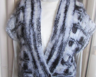 Open Weave Mohair Waistcoat/Vest/Gilet – Monochrome
