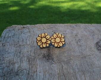 Flower Timber Earrings