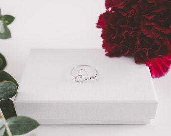 Delicate Heart Ring, Valentines Ring