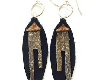 Leather Petal Earrings