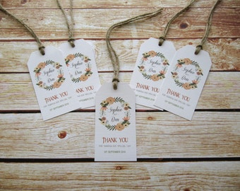 """20 x Personalised Wedding or Party Favour Gift Tag """"Drink me"""" Boho tag - Rustic Flowers"""