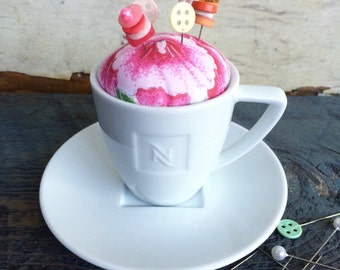 Tea Cup Pincushion, Pincushion, Tea Cup, The Letter N, Sewing Notions, Buttons, Straight Pins,