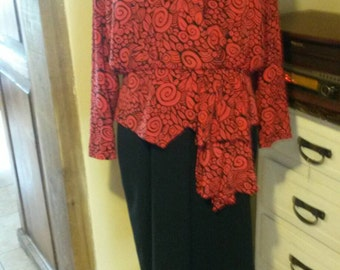 Half price sale 80s does 40s vintage Red and black  peplum dress by Richard Roberts.large.