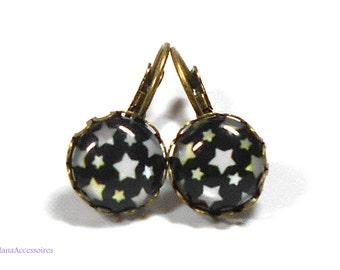 Cabochon earrings * Black Star * earrings star