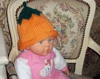 knitted, soft pumpkin hat in orange for children