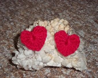 Red, crochet heart shape earrings