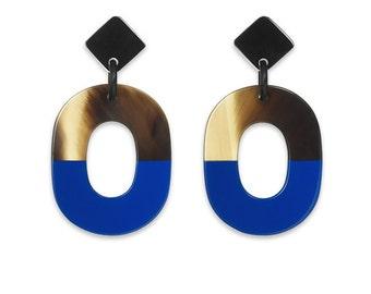 Buffalo Horn Earrings Organic purple 100% Handmade Jewelry E002