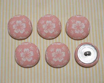 6 White Big Flower Fabric Covered Buttons - Light Pink (30mm) (Metal Shanks, Metal Flatbacks)