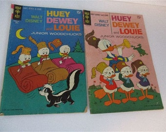 Two Vintage Gold Key Huey Dewey and Louie Comics 1968 1970 No. 3 and 5 Junior Woodchucks