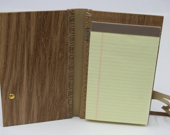 Oak Wood Notebook with Leather Binding stitched in Traditional Tortoise-Shell Stitch