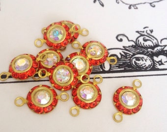 5 vintage orange hyacinth swarovski austrian AB crystals in brass setting 8mm crystal no.rl509hy-6