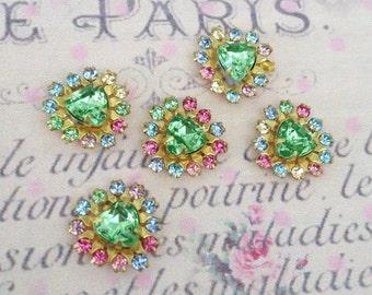 4 peridot green vintage sparkly swarovski rainbow  crystals heart brass setting no.mh626-16