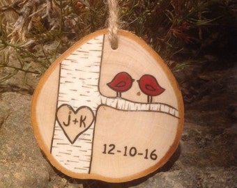 Couple's Ornament -- Love Birds Ornament personalized with initials - great 5th anniversary gift!