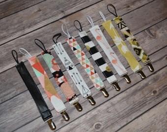 Pacifier Clip, Paci Clip, Binky Clip - Various Designs