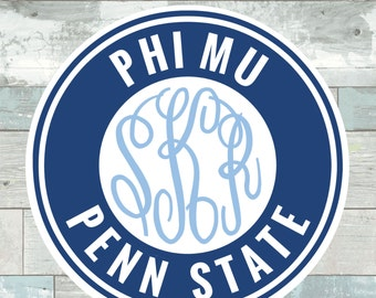 Phi Mu Penn State Monogram Frame Cutting Files in Svg, Eps, Dxf, Png for Cricut & Silhouette | Nittany Lion Vector | Georgia Sports Graphics