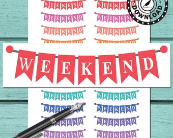 Weekend Banner Planner Stickers | Life Planner | Printable Planner Stickers | Download Planner Stickers (ni45)