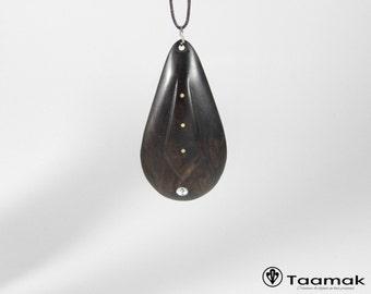 Carved ebony pendant necklace